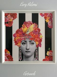 Original artwork part of the series Fading Beauty. Made using the decoupage technique with reproduced stock images from XIXth century engravings, floral cutouts from vintage gardening magazines and illustrations from old books and encyclopedias. The portrayed faces are repeated within the series, but compositions are always different.  This artwork features the beautiful italian opera singer Lina Cavalieri, Fornasetti´s muse. Over a striped black and white wallpaper background, Lina appears…