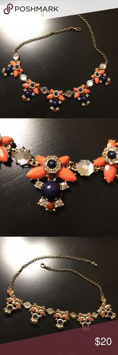 SALENavy and Coral Statement Necklace This is a beautiful piece! Matches many different outfits, it has been worn a couple times. All pieces and crystals intact. Francesca's Collections Jewelry Necklaces