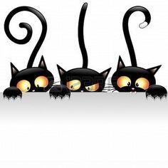 nakresliť na stenový obrázok Funny Black Cats Cartoon with White Panel #whitecat