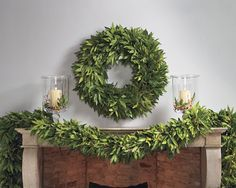 Love the bay leaf garland from William Sonoma - 6 ft. on mantle with candles.