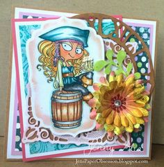 Jen's Paper Obsession, #KraftinKimmie, Moonlight Whispers Stamp, Handmade card, paper flowers, Pirate card