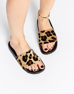 200c66af216ff0 Image 1 of KG By Kurt Geiger Leopard Print Slider Flat Sandals