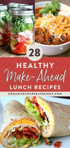 28 healthy make ahead lunch recipes for the week easy meal prep recipes for busy people ? Cold Lunches, Make Ahead Lunches, Prepped Lunches, Make Ahead Healthy Meals, Easy Meal Prep Lunches, Lunch Meals, Healthy Meals For Families, Meal Prep Cheap, Weekly Lunch Meal Prep