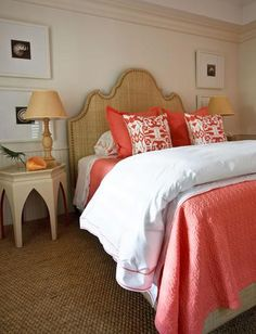 Coral, grasscloth, nightstands