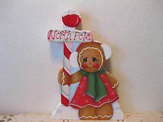 HP-Gingerbread-Christmas-ginger-North-Pole-Shelf-Sitter-hand-painted-USA