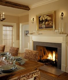 dining room with fireplace - Google Search