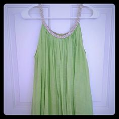 NWOT Bright green cover-up Bright green cover-up with gold rope detail around top. By NouveauMonde, size S.  New without tags. NouveauMonde  Dresses Midi