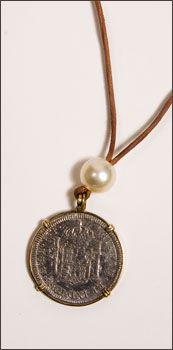 """Pearl and Authentic Ancient Coins // www.lavieestbellegallery.com """"Revamp"""" foreign coins"""