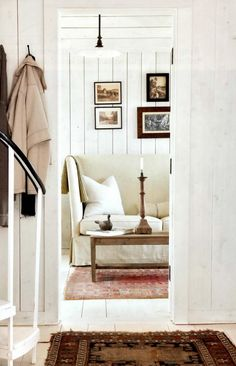 Willow Decor: Swedish Decor in the Hamptons Cottage Design, House Design, White Washed Floors, White Paneling, Painted Panelling, Painted Floors, Wood Paneling, Interior Inspiration, Design Inspiration