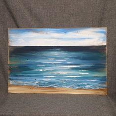 Pallet beach painting, pallet ocean wall art, Beach blues, upcycled, Handmade Seascape horizon, ocean, Distressed, shabby