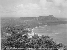 Waikiki 1934 - The large building in foreground is The Royal Hawaiian It was and still is one of  the best place to enjoy the luxury of Oahu and Waikiki. (This is not a paid announcement. It's just my personal opinion.) :)