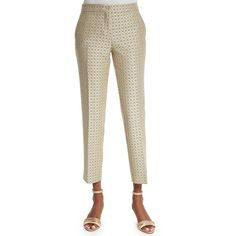 Etro Medallion-Print Skinny Capri Pants (€210) ❤ liked on Polyvore featuring pants, capris, beige, skinny pants, cropped pants, cropped trousers, brown skinny pants and etro pants