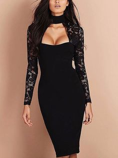 02027a4ae01e boutiquefeel   Sexy See Through Cut Out Bodycon Dress. Lace SleevesWomen s  Evening ...