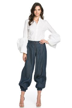 Indigo chambray joggers w/ side pockets, front zipper closure,elastic back and hem. Denim Joggers, Chambray, Indigo, Harem Pants, Dress Up, Zipper, Blouse, Long Sleeve, How To Wear