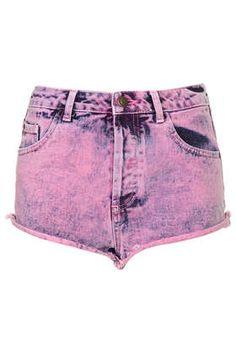 MOTO Pink Acid Wash Denim Hotpants