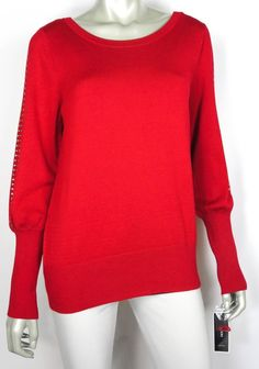 MACY'S ALFANI HOLIDAY SPARKLE BLOUSON SLEEVE SWEATER RED RHINESTONES SIZE M #Alfani #BoatNeck #Holiday