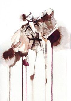 Fashion illustration,Petra Dufkova, watercolour