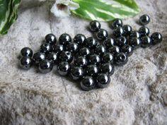 40 Hämatit Perlen, 6mm, Blutstein , Kugeln, Schmuck selbst machen, Edelstein