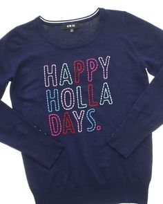 Happy Holla Days Embroidered Sweater