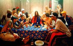 "David LaChapelle, ""Last Supper,"" From the ""Jesus Is My Homeboy"" photography series. David Lachapelle, Andy Warhol, Guy Bourdin, Tim Walker, Paul Gauguin, Last Supper Art, Pop Art, Video Artist, Expositions"