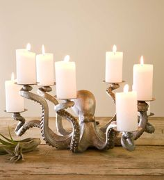 This dramatic Octopus Candle Holder will be a statement piece on any large table. The stately denizen of the deep is eager to lend a hand—or eight!—as each of his tentacles clutches a base ready to hold a pillar candle.