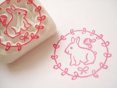 Rabbit rubber stamp Easter decor Bunny by JapaneseRubberStamps