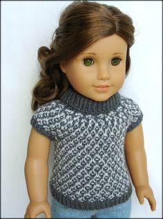 Gwen - Slip Stitch Turtleneck With Cap Sleeves - PDF Knitting Pattern For 18 American Girl Dolls. $4.50, via Etsy.
