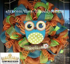 Turquoise Owl Welcome Wreath with Deluxe Mesh by lilmaddydesigns, $95.00