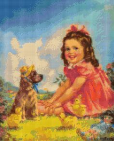 1950s Baby Girl and Friends Cross Stitch pattern PDF - Instant Download! by PenumbraCharts on Etsy