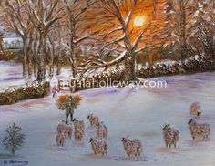 """Feeding Sheep in the Snow"" by Nuala Holloway - Oil on Canvas #IrishArt #Sheep #Farmlife #Snow #Christmas"
