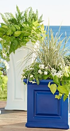 Create some curb-appeal magic with our classic Nantucket square planter beside your door—each has all the good looks of a raised-panel wood planter, but will never crack, chip or peel. Wood Planters, Tall Planters, Garden Junk, Decor Design, Home Design Decor, Nantucket, Outdoor Living, Dream Backyard, Backyard Retreat