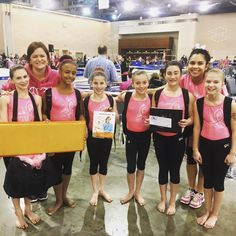 The team from Hershey Aerials was a huge #PartnerInPink and won the Shannon Miller by Mancino vault trainer mat at the Pink Invitational @shannonmiller96 #daretodream #mancinomeets #MancinoMats #gkwendy