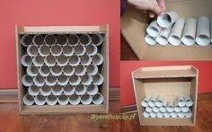 Car garage made from toilet rolls and cardboard boxes – DIY toy garage made from toilet paper rolls and cardboard boxes – toilet paper roll crafts for kids Cardboard Box Crafts, Toilet Paper Roll Crafts, Paper Crafts, Toy Garage, Kids Garage, Garage Ideas, Carton Diy, Toy Rooms, Wood Crates