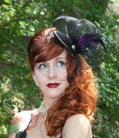black velvet cocktail hat