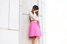 Valentine's date outfit idea, pink skirt, lace outfit, tulle skirt, Space 46