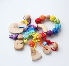 Baby teething ring rainbow rattle Waldorf toy with by BabyAnita