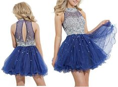 Royal Blue Homecoming Dress,Short Prom Dresses,Tulle Homecoming Gowns,Fitted Party Dress,Beading Prom Dresses,Cute dress