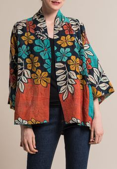 Mieko Mintz Kimono Jacket in Turquoise/Rust Mode Kimono, Kimono Jacket, Kimono Cardigan, Kimono Style, Batik Fashion, Fashion Fabric, Fashion Sewing, Mode Batik, Dress Outfits