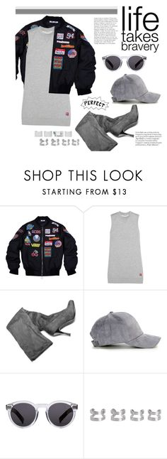 """""""tough love"""" by riennise ❤ liked on Polyvore featuring T By Alexander Wang, Anja, Illesteva, Maison Margiela, bomberjacket, minidress, THIGHHIGHBOOTS and baseballcap"""