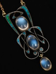 Sterling Silver 925 Blue Sapphire With Champagne Rose cut Diamond Enameling Turquoise Pendant