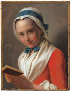 "Pietro Antonio Rotari (1707-1762), ""Young Woman with Bonnet and White Shawl, Holding a Book,"" known as ""The Virtuous Girl,..."