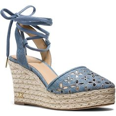 Michael Michael Kors Darci Espadrille Platform Wedge Sandals (€135) ❤ liked on Polyvore featuring shoes, sandals, washed denim blue, blue wedge shoes, wedge heel sandals, lace up espadrilles, lace up wedge sandals and platform shoes