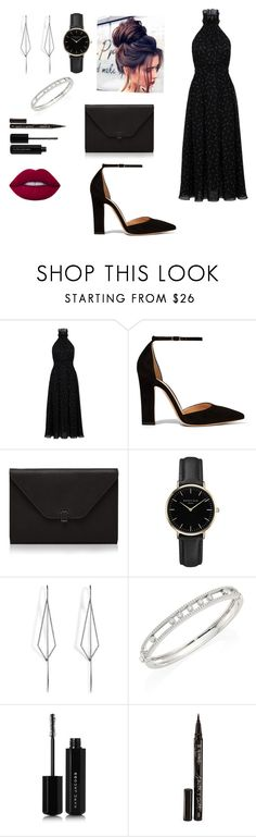 """""""dress up"""" by kkmahony ❤ liked on Polyvore featuring Gianvito Rossi, Valextra, ROSEFIELD, Diane Kordas, Messika, Marc Jacobs, Smith & Cult and Lime Crime"""