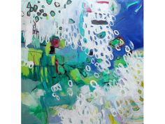 """Large Abstract Painting Canvas Expressionist Intuitive Blue Green """"Under the Hawthorne Bridge"""""""