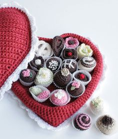 Crochet Box of Chocolates.. Free pattern for heart box and the candies too!
