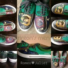 Romeo ♥ Juliet  (Tinton's MEN - Klimt inspired) Visit us  @ https://facebook.com/tintonsshoes Http://i.instagram.com/tintonsshoes/ For more shoe designs :D  Handpainted . Personalized . Customized Shoes By: Tin & Ton
