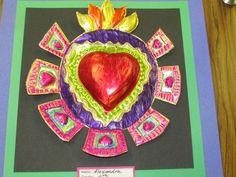 """Mexican tin art heart by a 4th grader; approx. 8"""" across; art teacher: Susan Joe"""