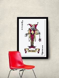 joker playing card framed poster