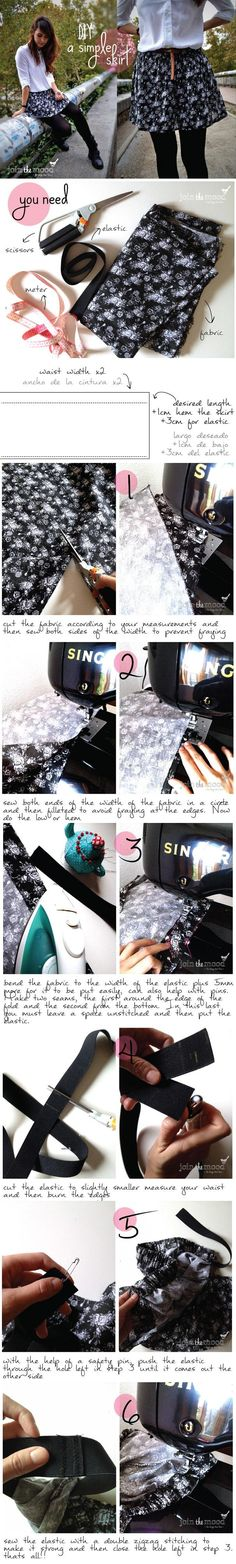 How To Make A Simple Skirt | DIY & Crafts Tutorials. Wanna try to make this.