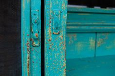 Faux rust and turquoise from layers of paint on newer wood @ Vintique Venue on FB.